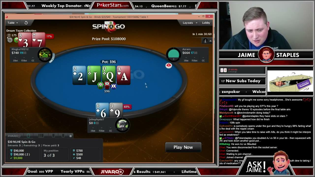 $108,000 Spin and Go on PokerStars With Jaime Staples