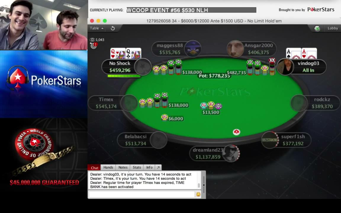 AA QQ JJ pre-flop with Mike McDonald at WCOOP Final Table