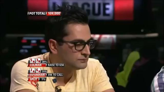 Esfandiari plays back vs Colman.