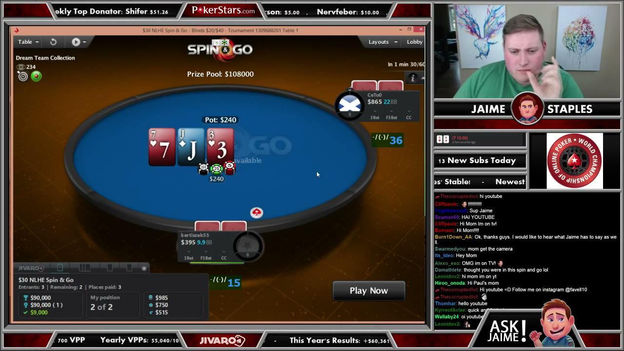 Jaime Staples $108,000 Spin & Go on PokerStars (again!)