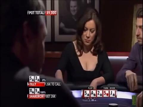 Jennifer Tilly makes weird bluff against Shakerchi