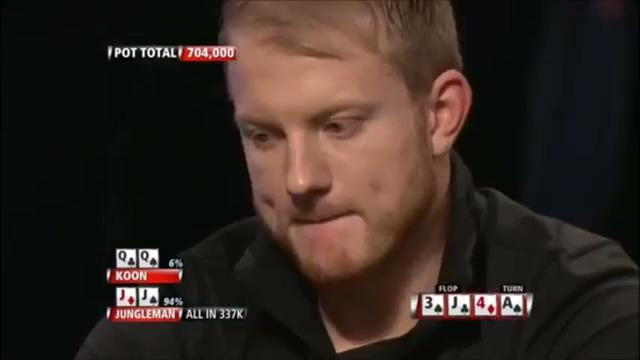 Jungleman hits one outer against Jason Koon: Premier League Poker